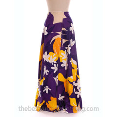 Vintage 70s Cotton Maxi Wrap Skirt & Scarf OO Rings Colorful Bold Print Small Purple Yellow - The Best Vintage Clothing  - 2