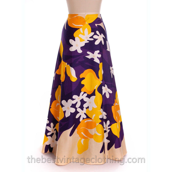 Vintage 70s Cotton Maxi Wrap Skirt & Scarf OO Rings Colorful Bold Print Small Purple Yellow - The Best Vintage Clothing  - 4