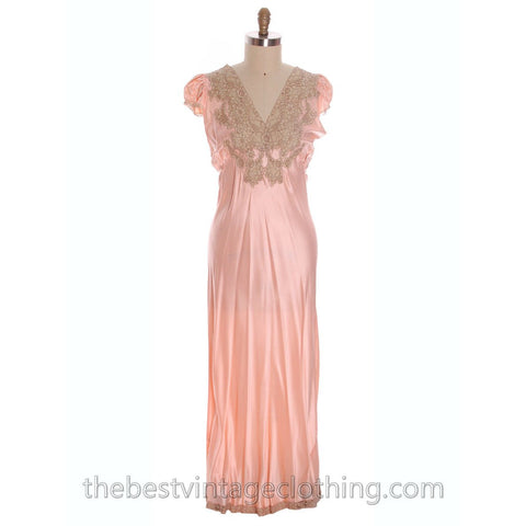 Gorgeous Vintage Peach Rayon Charmeuse Satin Lace NOS Nightgown Boudoir XL Plus Bias Cut