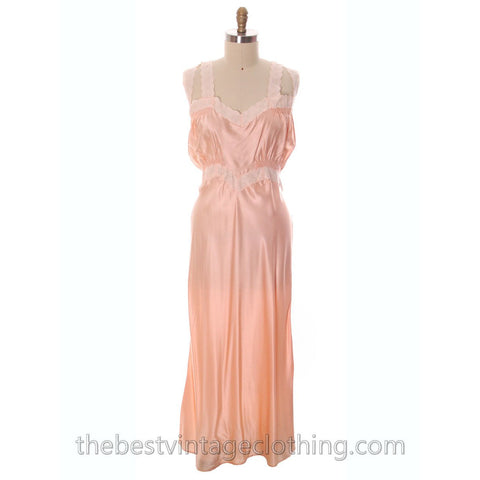 Gorgeous Vintage Peach Rayon Charmeuse Satin NOS Nightgown Boudoir XL Plus Bias Cut - The Best Vintage Clothing  - 1