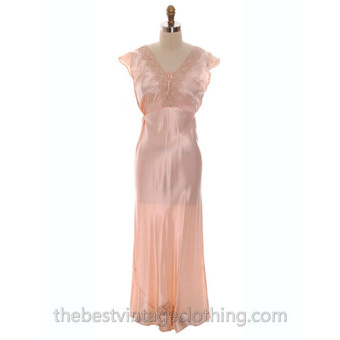 Lovely NOS Vintage 1930s Bias Cut Nightgown Peach Rayon Satin XL 17 Pretty Details
