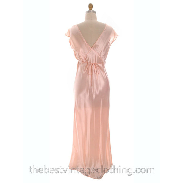 Lovely NOS Vintage 1930s Bias Cut Nightgown Peach Rayon Satin XL 17 Pretty Details - The Best Vintage Clothing  - 3