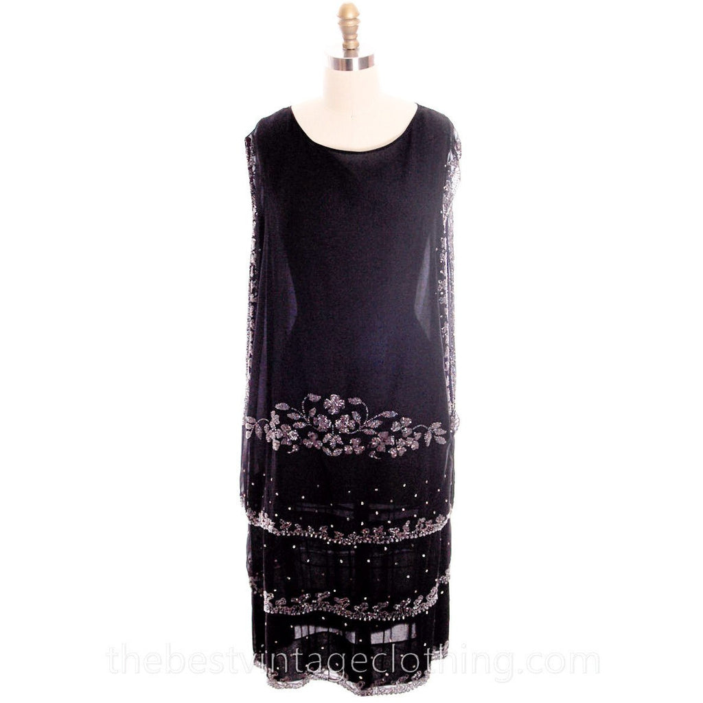 Stunning Antique 1920s Flapper Dress Beaded Black Chiffon Rhinestones Art Deco Near Mint 42 Bust - The Best Vintage Clothing  - 1