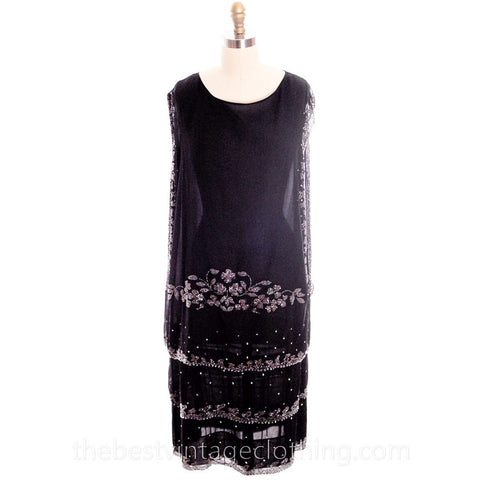 Stunning Antique 1920s Flapper Dress Beaded Black Chiffon Rhinestones Art Deco Near Mint 42 Bust