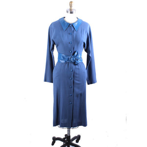 RARE Vintage Emanuel London Collection Dress Blue Wool/Leather Belt/Collar Sz Small