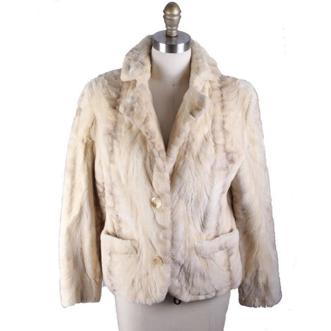 VTG Chub Jacket Buttercream Colored Fur Short Sz S/M Creation  Aphrodite