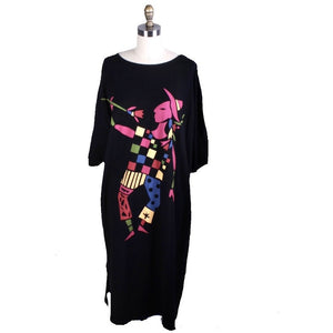 Unique RARE Vintage Marimekko Cotton Knit Clown Dress 80s NWOT Black womens O/S