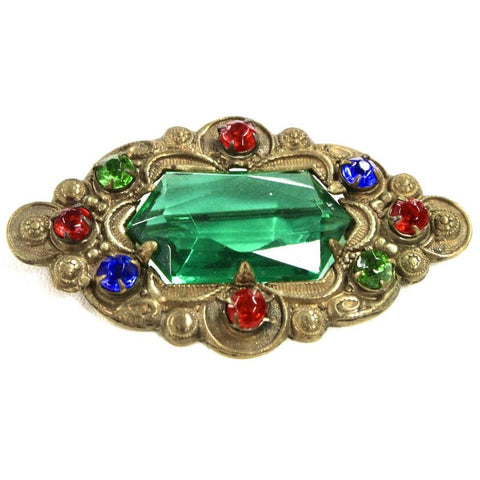 Antique Bronze Victorian Pin Faux Emerald Colorful Pin Brooch 1900