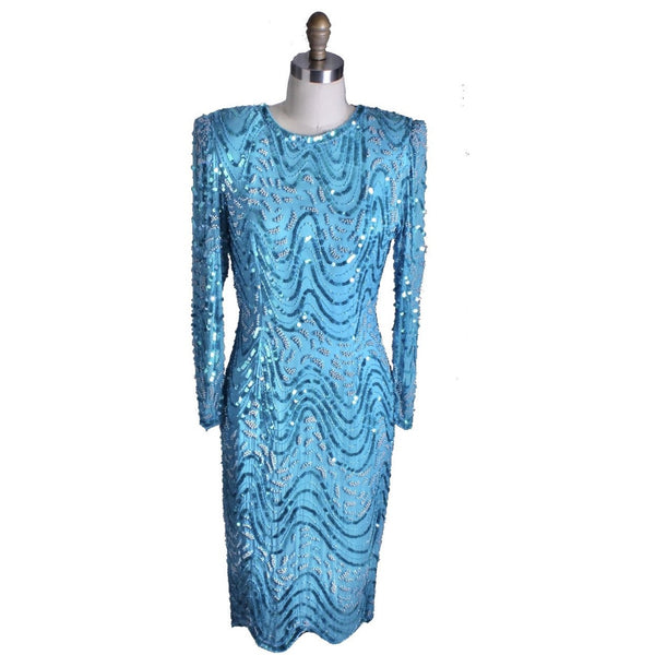 1980s VTG Evening Glam Dress Turquoise Sequins Twilight Connection Womens M