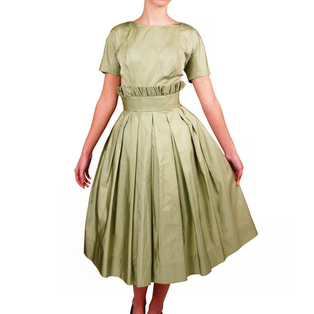 Vintage Suzy Perette Pale Green Silk Cocktail Dress 1950'S 36-25-Free Beauty - The Best Vintage Clothing  - 1