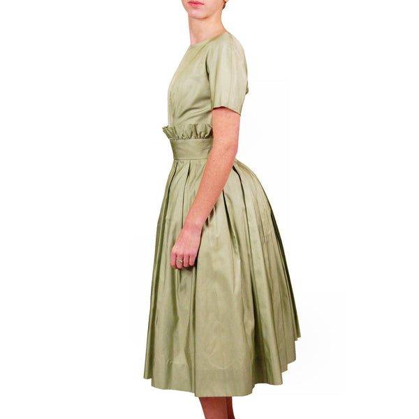 Vintage Suzy Perette Pale Green Silk Cocktail Dress 1950'S 36-25-Free Beauty - The Best Vintage Clothing  - 2
