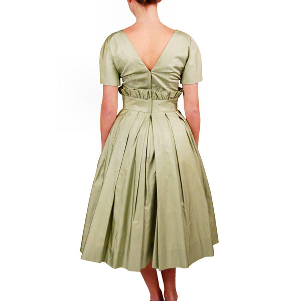 Vintage Suzy Perette Pale Green Silk Cocktail Dress 1950'S 36-25-Free Beauty - The Best Vintage Clothing  - 3