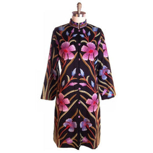 Amazing Vintage Crewel Work Floral Coat Colors /Black Fits Up to a Large - The Best Vintage Clothing  - 1