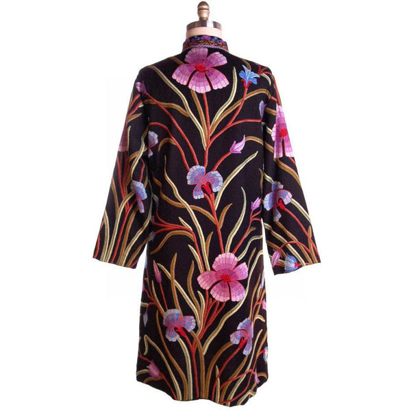 Amazing Vintage Crewel Work Floral Coat Colors /Black Fits Up to a Large - The Best Vintage Clothing  - 3
