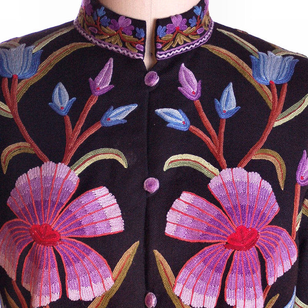 Amazing Vintage Crewel Work Floral Coat Colors /Black Fits Up to a Large - The Best Vintage Clothing  - 4