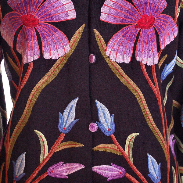 Amazing Vintage Crewel Work Floral Coat Colors /Black Fits Up to a Large - The Best Vintage Clothing  - 5