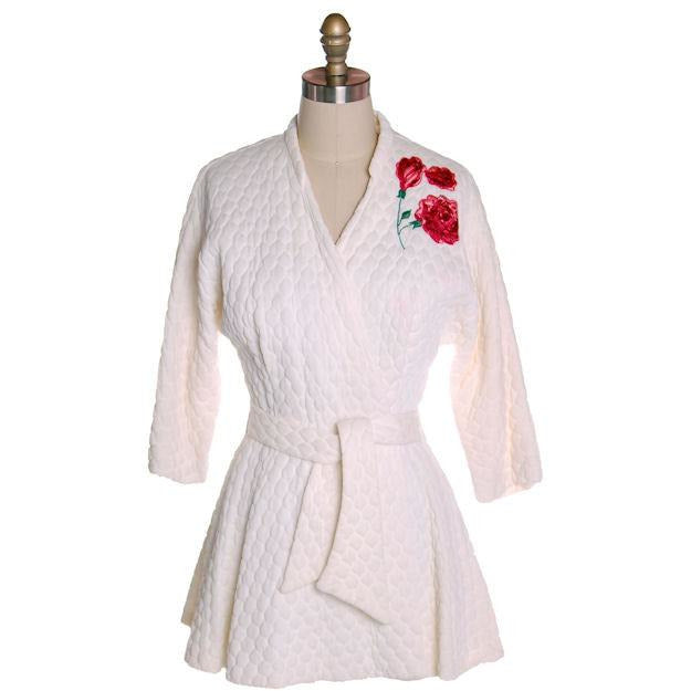 Vintage White Quilted Bed Jacket Roses Applique Evelyn Pearson 1950s 38-26-Free - The Best Vintage Clothing  - 1