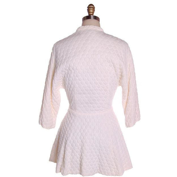 Vintage White Quilted Bed Jacket Roses Applique Evelyn Pearson 1950s 38-26-Free - The Best Vintage Clothing  - 4