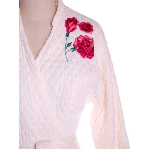 Vintage White Quilted Bed Jacket Roses Applique Evelyn Pearson 1950s 38-26-Free - The Best Vintage Clothing  - 6