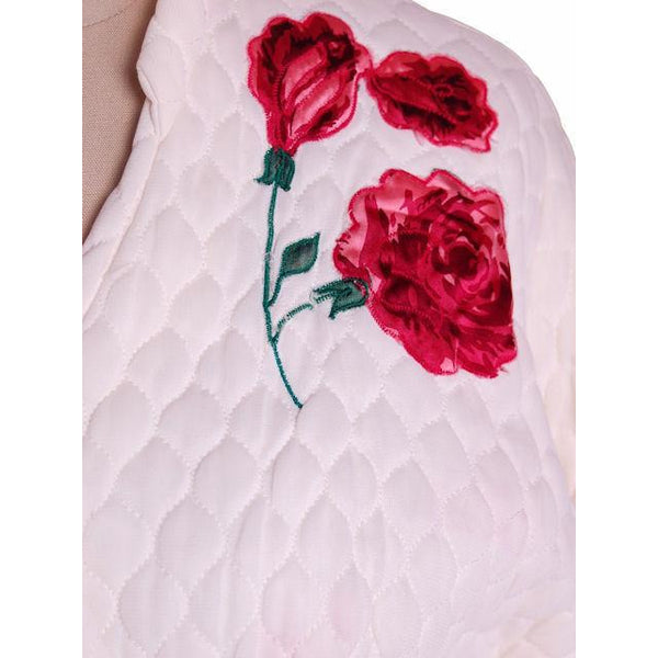 Vintage White Quilted Bed Jacket Roses Applique Evelyn Pearson 1950s 38-26-Free - The Best Vintage Clothing  - 3