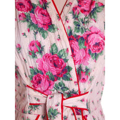Vintage Quilted Cotton Robe Super 1940s Red/Pink Roses Border  36-30-49 - The Best Vintage Clothing  - 2