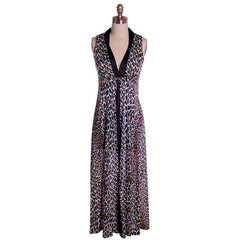 Vintage Cat Print Leopard Nylon Night Gown 1960s MEOW Small 34-34-44 - The Best Vintage Clothing  - 1