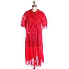 Vintage Cherry Red & Silver Lace Nylon Chiffon Robe Bust 40 1950s - The Best Vintage Clothing  - 1