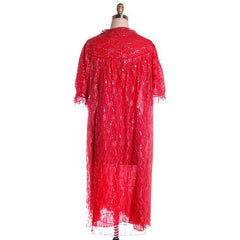 Vintage Cherry Red & Silver Lace Nylon Chiffon Robe Bust 40 1950s - The Best Vintage Clothing  - 5
