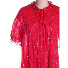 Vintage Cherry Red & Silver Lace Nylon Chiffon Robe Bust 40 1950s - The Best Vintage Clothing  - 4