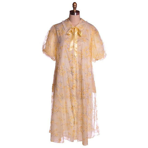 Vintage Yellow Flocked Nylon Chiffon Robe 1950s Marilyn 44 Bust Adorable