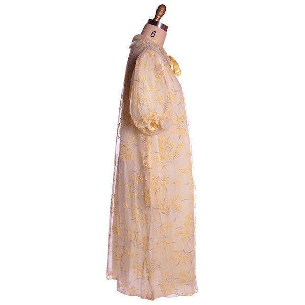 Vintage Yellow Flocked Nylon Chiffon Robe 1950s Marilyn 44 Bust Adorable - The Best Vintage Clothing  - 2