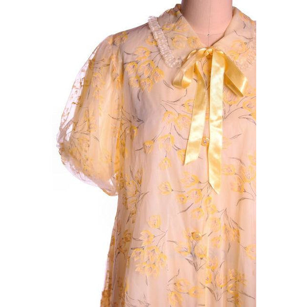 Vintage Yellow Flocked Nylon Chiffon Robe 1950s Marilyn 44 Bust Adorable - The Best Vintage Clothing  - 5