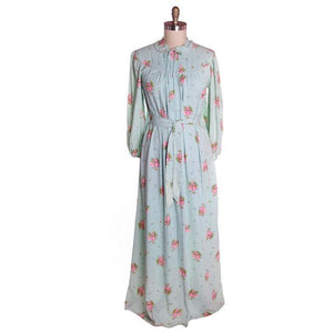 Vintage Blue & Pink Roses Rayon Robe 1940s Neat Belt 44 Bust L-XL - The Best Vintage Clothing  - 1