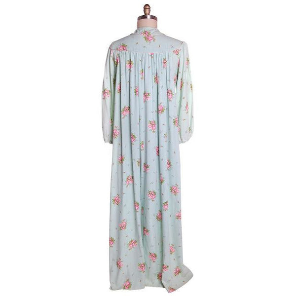 Vintage Blue & Pink Roses Rayon Robe 1940s Neat Belt 44 Bust L-XL - The Best Vintage Clothing  - 2