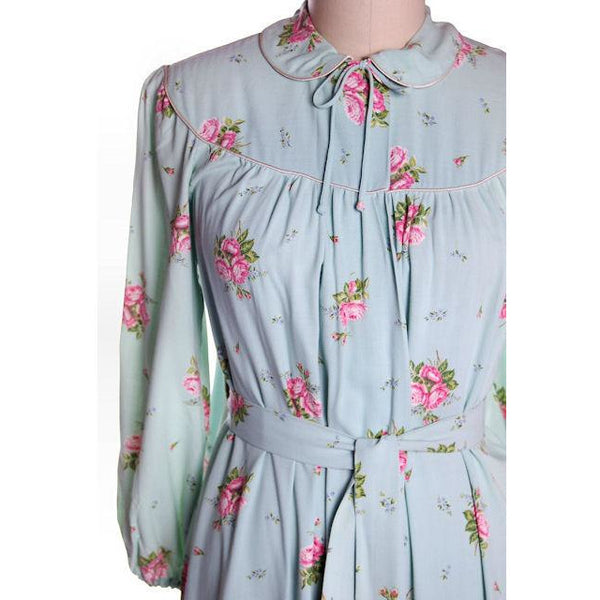 Vintage Blue & Pink Roses Rayon Robe 1940s Neat Belt 44 Bust L-XL - The Best Vintage Clothing  - 5