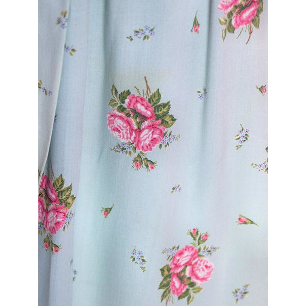 Vintage Blue & Pink Roses Rayon Robe 1940s Neat Belt 44 Bust L-XL - The Best Vintage Clothing  - 4