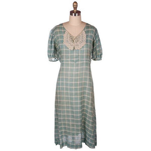 Vintage Cotton Day Dress Pale Green & Ivory Plaid & Lace 1920s 40-36-42 - The Best Vintage Clothing  - 1