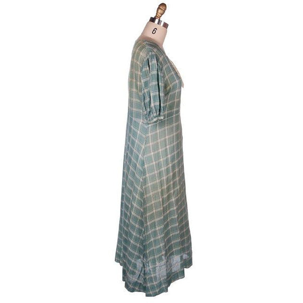 Vintage Cotton Day Dress Pale Green & Ivory Plaid & Lace 1920s 40-36-42 - The Best Vintage Clothing  - 3