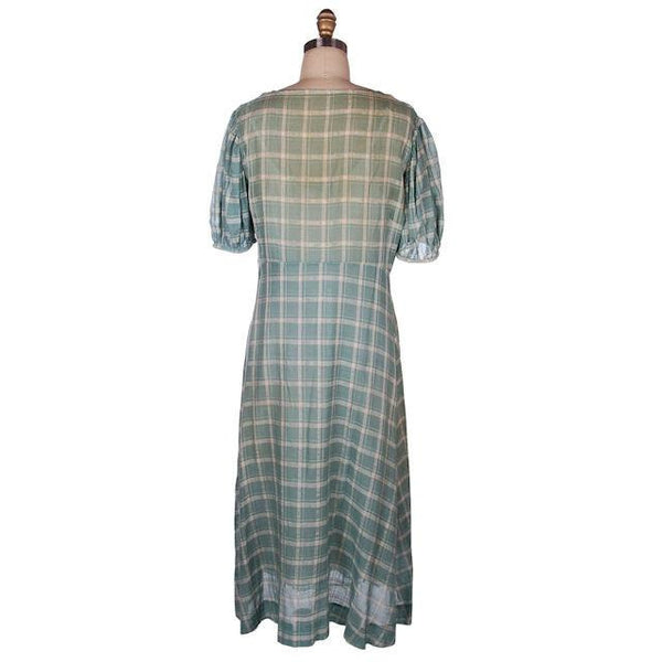 Vintage Cotton Day Dress Pale Green & Ivory Plaid & Lace 1920s 40-36-42 - The Best Vintage Clothing  - 4