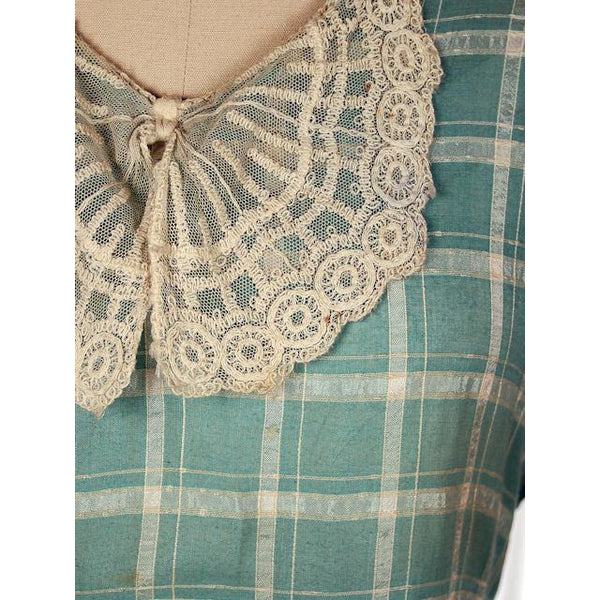 Vintage Cotton Day Dress Pale Green & Ivory Plaid & Lace 1920s 40-36-42 - The Best Vintage Clothing  - 2