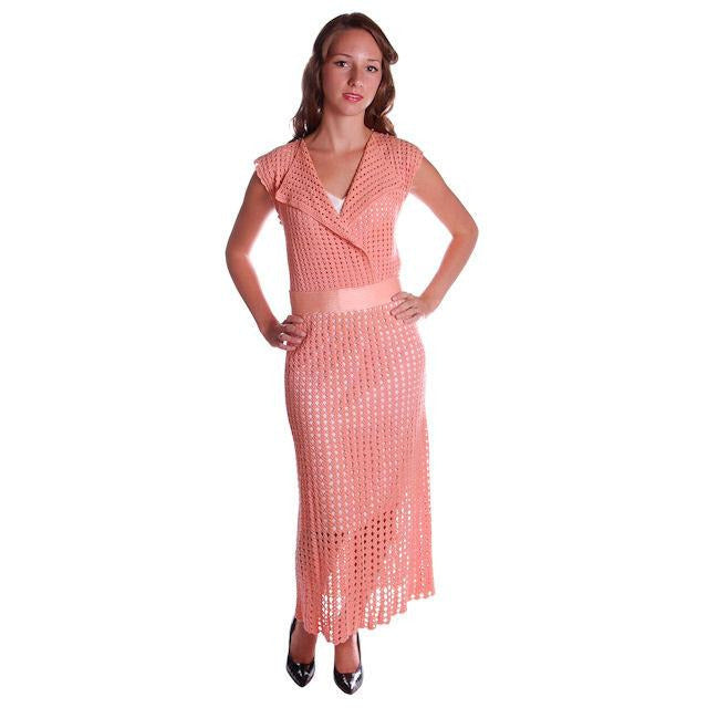 Vintage Peach Crocheted Knit Day Dress 1930s Size 6-8 - The Best Vintage Clothing  - 1
