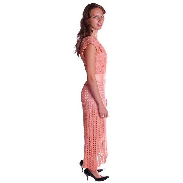 Vintage Peach Crocheted Knit Day Dress 1930s Size 6-8 - The Best Vintage Clothing  - 4