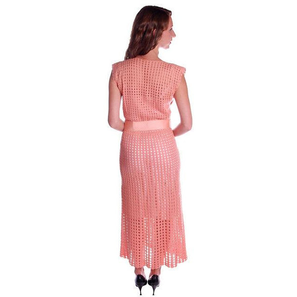 Vintage Peach Crocheted Knit Day Dress 1930s Size 6-8 - The Best Vintage Clothing  - 2