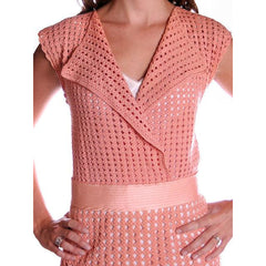 Vintage Peach Crocheted Knit Day Dress 1930s Size 6-8 - The Best Vintage Clothing  - 3