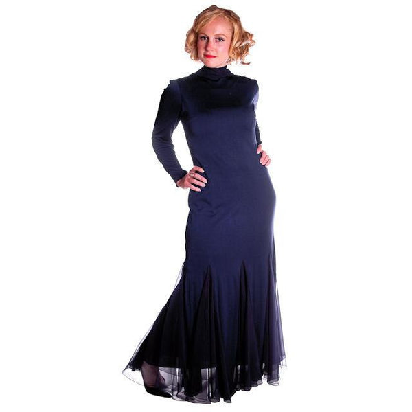 Vintage Richilene Blue  Silk Wiggle Fishtail Evening Gown Sz 8-12 - The Best Vintage Clothing  - 2