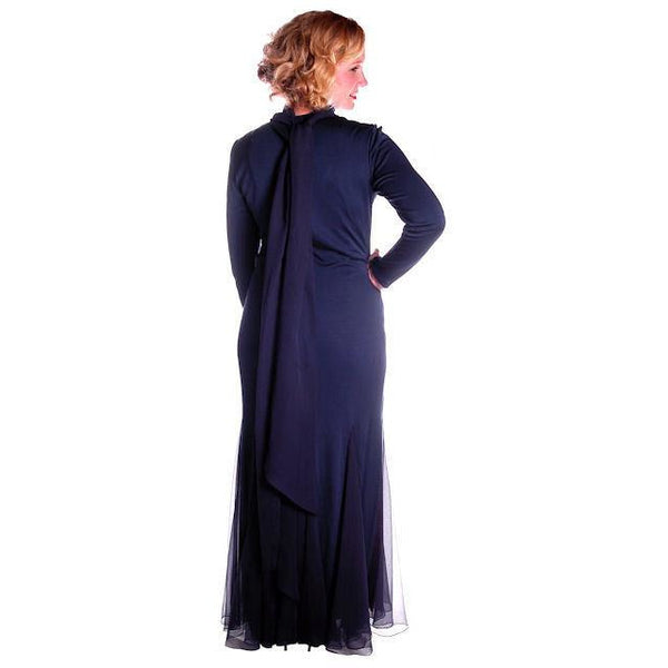 Vintage Richilene Blue  Silk Wiggle Fishtail Evening Gown Sz 8-12 - The Best Vintage Clothing  - 3