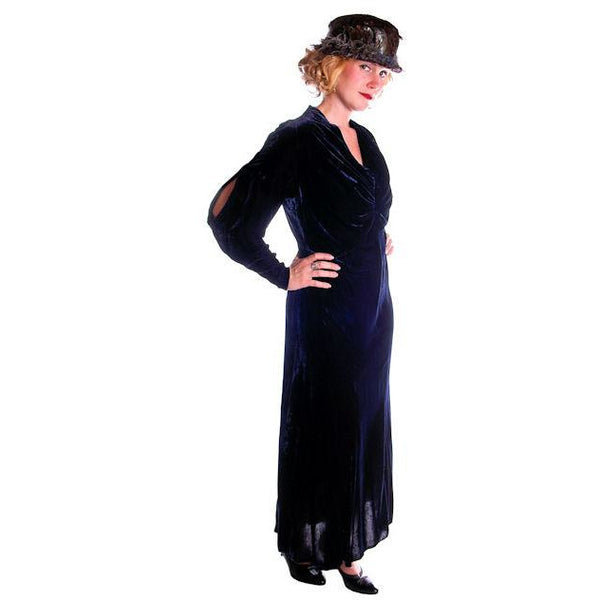 Vintage Dress Blue Silk Velvet Gown 1930s Cut Out Sleeves XL 44-36-44 - The Best Vintage Clothing  - 3