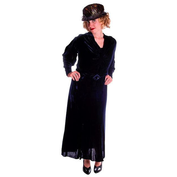 Vintage Dress Blue Silk Velvet Gown 1930s Cut Out Sleeves XL 44-36-44 - The Best Vintage Clothing  - 4