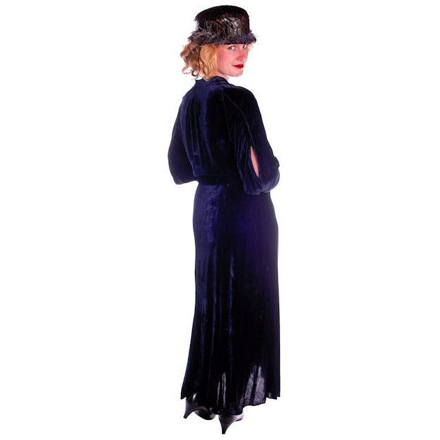 Vintage Dress Blue Silk Velvet Gown 1930s Cut Out Sleeves XL 44-36-44 - The Best Vintage Clothing  - 1