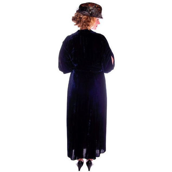Vintage Dress Blue Silk Velvet Gown 1930s Cut Out Sleeves XL 44-36-44 - The Best Vintage Clothing  - 5